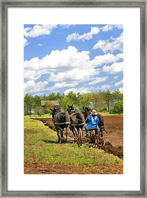 Grandpa And His Team Of Horses At Old World Wisconsin Framed Print by Christopher Arndt