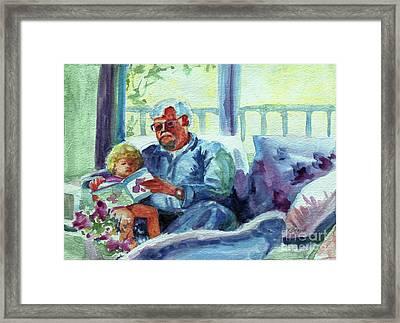 Grandpa Reading Framed Print by Kathy Braud
