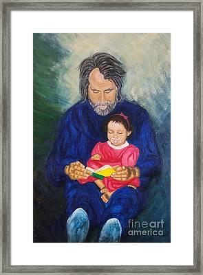 Grandpa Reads A  Story Framed Print by Nancy Rucker