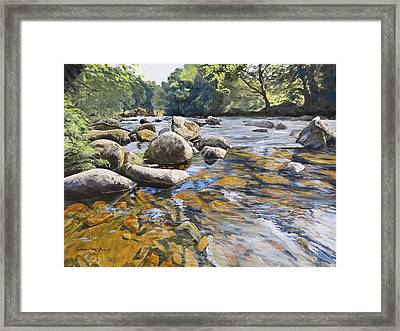 Framed Print featuring the painting Granite Boulders East Okement River by Lawrence Dyer