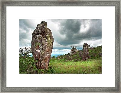 Granite Monolith In Tropical Savanna La Chiquitania Bolivia Framed Print by Dirk Ercken