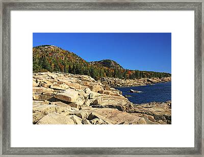 Granite Rocks At The Coast Framed Print by George Oze