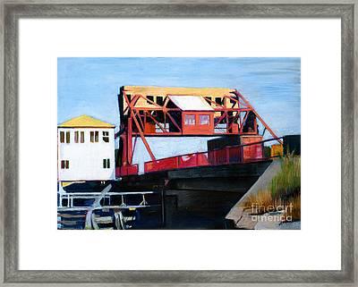 Granite Street Drawbridge At Neponset River Framed Print by Deb Putnam