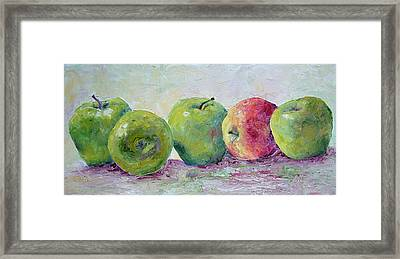 Grannie Smiths And A Gala Framed Print by Jill Musser