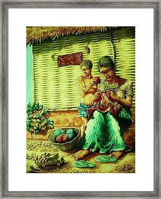 Granny And Grand Son Framed Print by Pralhad Gurung