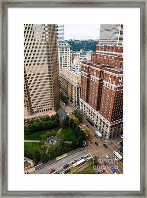 Grant Street As Seen From Usx Tower Pittsburgh Pa Framed Print by Amy Cicconi