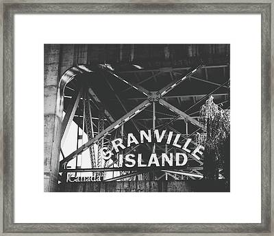 Granville Island Bridge Black And White- By Linda Woods Framed Print