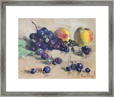 Grape And Peach Framed Print by Ylli Haruni
