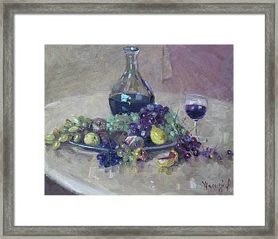 Grape And Wine Framed Print by Ylli Haruni