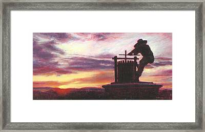 Grape Crusher Napa Valley Sunset Framed Print by Takayuki Harada