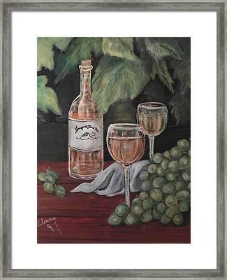 Grape Leaves And Wine Framed Print