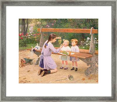 Grape Tasting  Framed Print by Victor Gabriel Gilbert