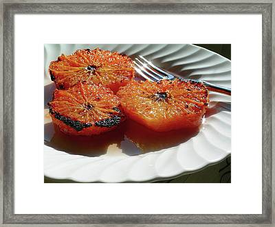 Grapefruit Brulee With Pomegranate Liqueur Framed Print by James Temple