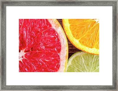 Grapefruit Orange Lime Framed Print by Teri Virbickis