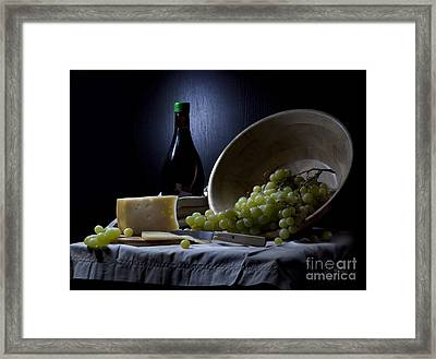 Grapes And Cheese Framed Print by Irina No