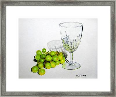 Grapes And Crystal Framed Print by Marna Edwards Flavell