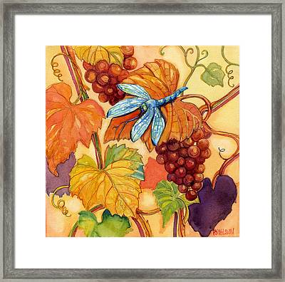 Grapes And Dragonfly Framed Print by Peggy Wilson