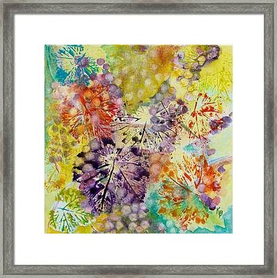 Grapes And Leaves I Framed Print by Karen Fleschler