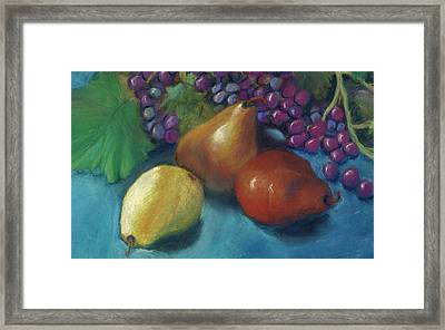 Grapes And Pears 2 Pastel Framed Print by Antonia Citrino