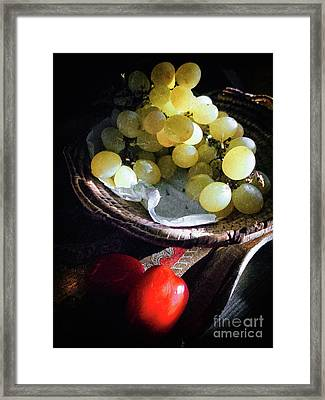 Framed Print featuring the photograph Grapes And Tomatoes by Silvia Ganora