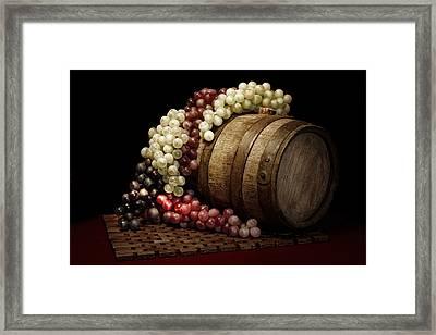 Grapes And Wine Barrel Framed Print