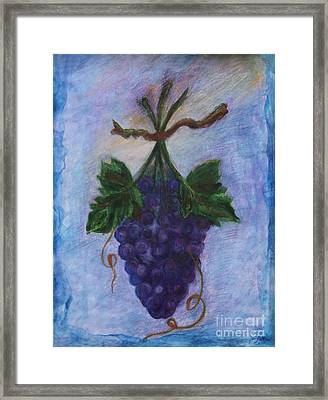 Grapes Framed Print by Elena Fattakova