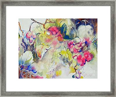 Framed Print featuring the painting Grapes In Season by Mary Haley-Rocks