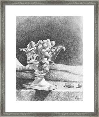 Framed Print featuring the drawing Grapes by Joe Winkler