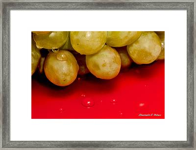 Grapes On Red Framed Print by Christopher Holmes