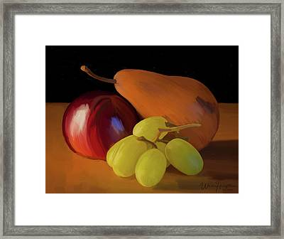 Grapes Plum And Pear 01 Framed Print by Wally Hampton
