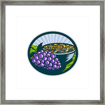 Grapes Raisins Bowl Oval Woodcut Framed Print by Aloysius Patrimonio