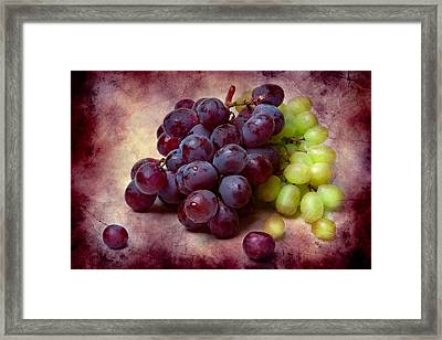 Grapes Red And Green Framed Print by Alexander Senin