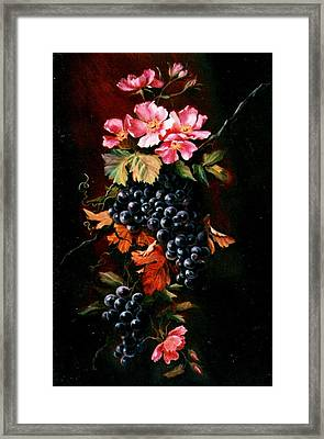 Grapes With Wild Roses Framed Print