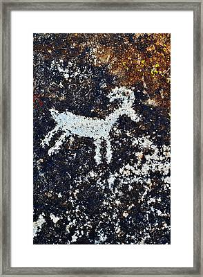 Grapevine Canyon Bighorn Sheep Petroglyph Framed Print by Kyle Hanson