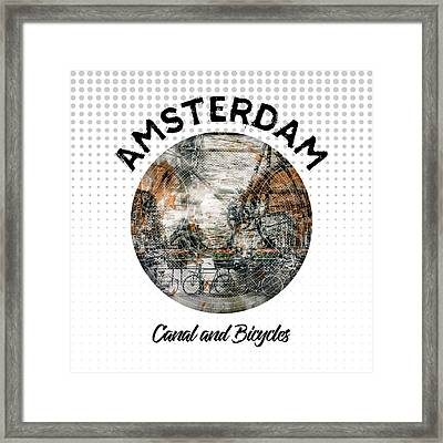 Graphic Art Amsterdam Canal And Bicycles Framed Print by Melanie Viola