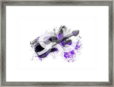 Graphic Art Guitar - Purple Framed Print by Melanie Viola