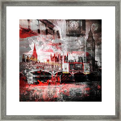 Graphic Art London Red Bus Composing Framed Print
