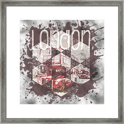 Graphic Art London Streetscene Framed Print by Melanie Viola