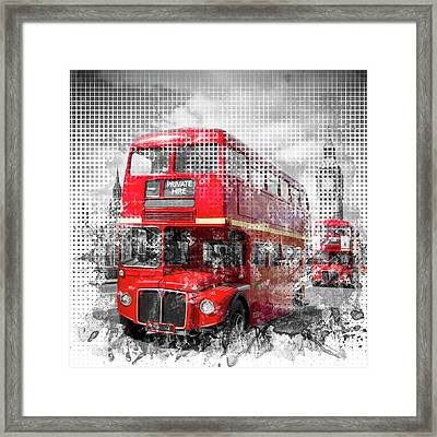 Graphic Art London Westminster Red Buses Framed Print by Melanie Viola
