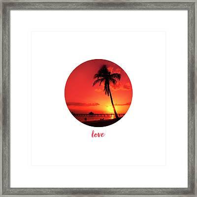 Graphic Art Love - Sunset Framed Print by Melanie Viola