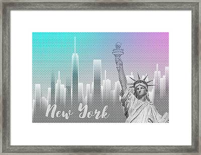 Graphic Art New York Mix No 4 - Funky Cyan And Pink Framed Print