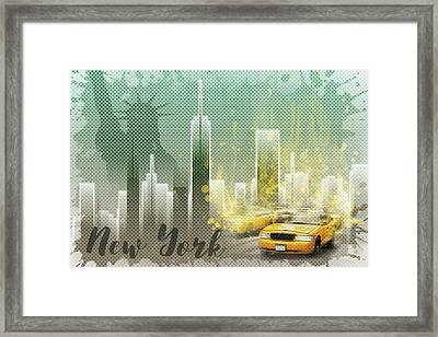 Graphic Art New York Mix No 6 - Green And Yellow Framed Print