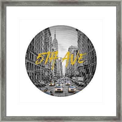 Graphic Art Nyc 5th Avenue Framed Print by Melanie Viola