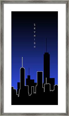Graphic Art Skyhigh Panoramic - Blue Framed Print