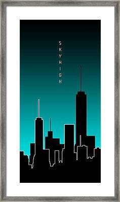 Graphic Art Skyhigh Panoramic - Cyan Framed Print by Melanie Viola