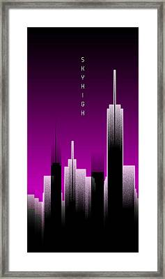 Graphic Art Skyhigh Panoramic Lights - Pink Framed Print
