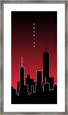 Graphic Art Skyhigh Panoramic - Red Framed Print