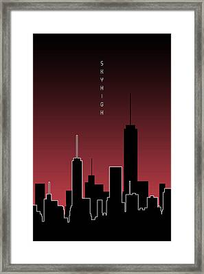 Graphic Art Skyhigh - Red Framed Print