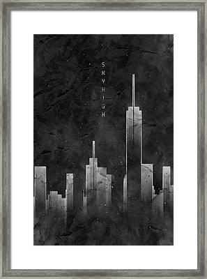 Graphic Art Skyhigh Vintage Look - Black Framed Print by Melanie Viola