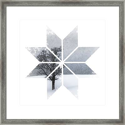 Graphic Art Snowflake Lonely Tree Framed Print